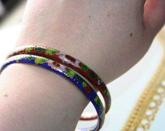 Vintage Bracelets ,Beautiful porcelain 2 bangles -elegant ,handpainted ,stackable