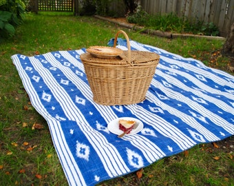 Picnic Blanket- Ikat Blanket- Waterproof Picnic Blanket, Personalized Gift
