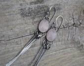 RESERVED Rose Quartz Sterling Silver Neck Nibbler Earrings