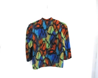 80s Psychedelic Rainbow Blouse with Buttons and Bows All over Pattern