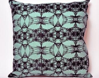 "Hand Printed Dandy Pillow Cover- 18""x18"" (Aqua)"