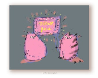 Thank You Card - Neon Cats - Thank You Cat Card