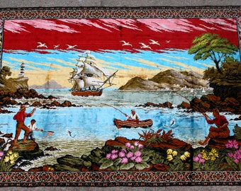 "Fish and Boat Italian Made Vintage 1970's Wall Tapestry 48"" x 72"""