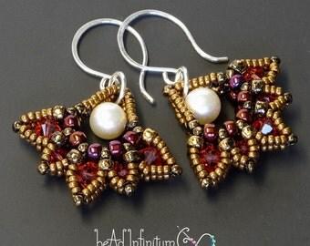 Lotus Drop Beaded Earrings Pink Pearl Bronze Sterling Silver Wire