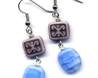 Blue Earrings, Purple Earrings, Surgical Steel Earrings, Czech Glass Earrings, Lavender Sky Blue Earrings, Handmade Surgical Steel Jewelry