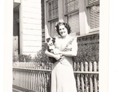Proud Puppy Dog Mamma vintage Photo Pretty Woman Pet Dog 1944 snapshot