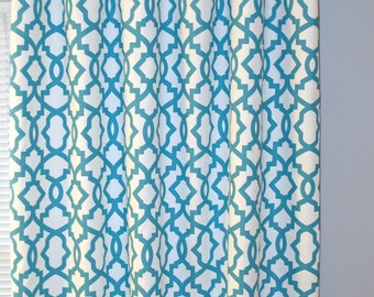 Blue Curtains, Pair of Rod Pocket Panels, Premier Prints Sheffield, Coastal Blue White  Trellis Lattice, Choose Size