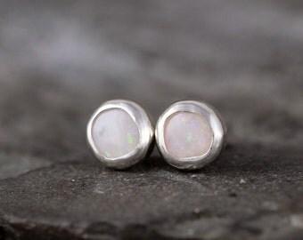 Opal Earrings - Bezel Set Stud Pierced Earring - Sterling Silver Earrings - Made in Canada - Colorful Opal - October Birthstone