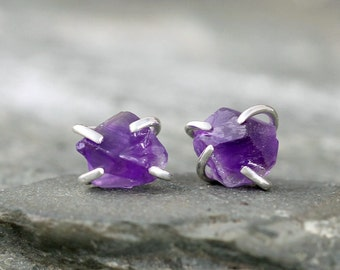 Amethyst Earrings - Raw Amethyst Stud Earring - Sterling Silver - February Birthstone - Purple Raw Gemstone Jewellery - Made in Canada