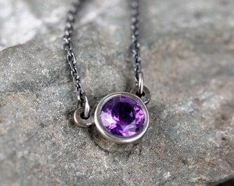 Amethyst Necklace - Sterling Silver Bezel Set Pendant - Genuine Purple Gemstone - Rustic Patina - February Birthstone - Amethyst Jewelry