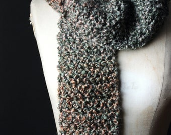 "Rustic Bohemian Woodland Hand Crocheted Wrap Scarf, Earthy, Sage Green, Cream, Salmon. ""Lichen""."