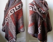 Super Soft and Cuddly Hooded Tribal Pattern Poncho Sweater