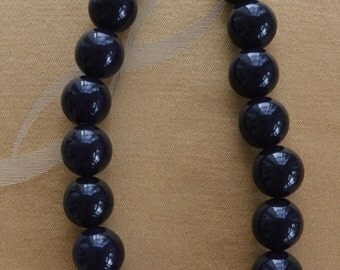 "Pretty Vintage 20mm Dark Navy Blue Plastic Beaded Choker Necklace, Adjustable, 15""-17"""