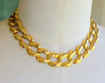 Vintage Necklace GOLD Link Collar