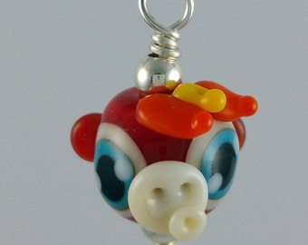 February 2016 Mini of the Month Fire Monkey Lampwork Glass Necklace and Cell Charm