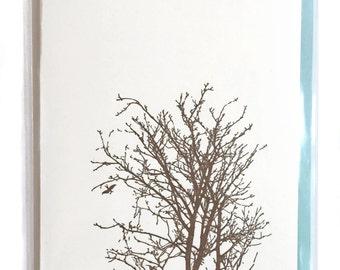 Tree Card, Letterpress Card, Blank Greeting Cards, Nature Card, Birds in Tree greeting card, blank Letterpress cards, woodland nature design
