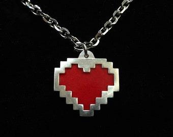Pixel Heart Necklace in Sterling Silver - video game jewelry geek pendant 8bit statement scott pilgrim
