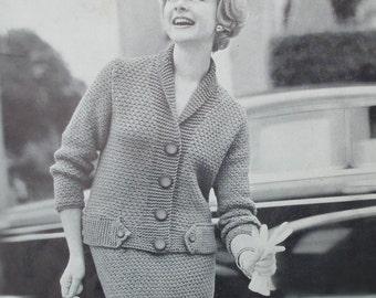 Vintage Knitting Pattern 1950s 1960s Women's Suit Two Piece Matching Cardigan Jacket and Skirt 50s 60s original pattern Lavenda No. B1001 UK