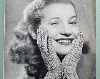 Vintage 40s crochet pattern women's gloves Summer lacy feminine design 1940s original pattern ladies accessories rayon Bestway No. 1896 UK