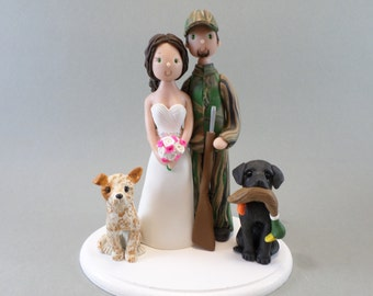 Cake Toppers -Bride & Groom Customized Hunting Theme Wedding Cake Topper