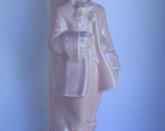 Vintage Pink Ceramic Lamp Base 1950's Colonial Man