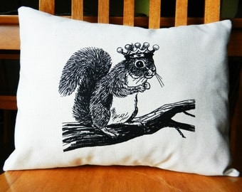 "Squirrel Pillow Cover, Squirrel Wearing a Crown, Woodland Decor, Squirrel Throw Pillow Cover, Screen Printed, fits 12 x 16"" pillow form"