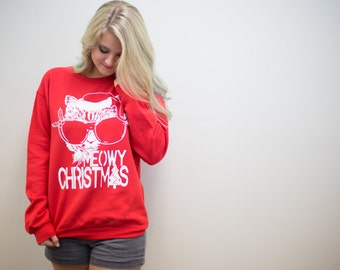 Christmas, Ugly Christmas Sweater, Meowy Christmas, funny sweatshirt, girlfriend gift, holiday sweater gift, Cat shirt, unisex, rctees, cats