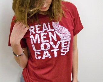Funny tshirt. T-shirt mens, Real Men Love Cats, Cat shirt, red, mens clothing, typographic tee, mens message tee, American Apparel