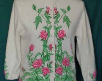 Vintage Darlene Hand Screen Print Roses Sweater B36 French Angora Lambswool
