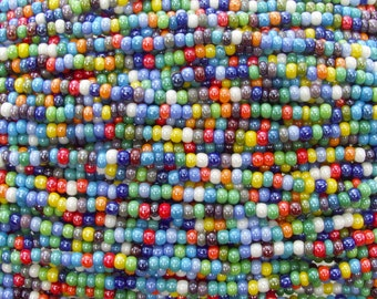 6/0 Opaque Color Luster Mix Czech Glass Seed Bead Strand (CW218)