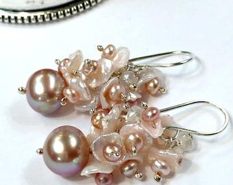 Wedding Earrings, Blush Keishi Pearl Cluster Earrings, Sterling Silver Wire Wrap, Keishi Pearl Cluster Mystic Quartz, Blush Earrings