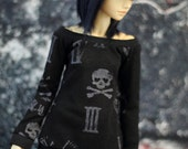 Minifee Shirt Black Skulls and Clock Print MNF Top 1/4 Ball Jointed Doll Clothes ABJD Tunic Goth