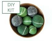 Needle Felting Kit Beginner - Felted Pebble Kit - Wool Stone Rock Kit - DIY Craft Kit - Children - Kids - Blue