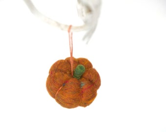 Felted Pumpkin Ornament in rust brown wool, Rustic Fall, Autumn, Thanksgiving Decoration