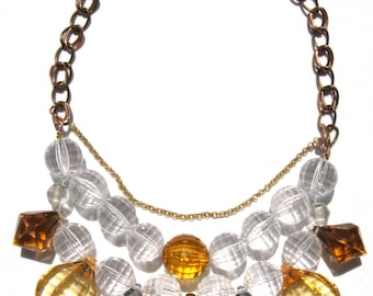 Fun Amber clear acrylic handmade statement necklace