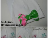 Baby Beanie/Newborn Beanie/BabyGirl Hat/Newborn Hospital Hat/PhotoOp with Lilly Pulitzer Bow/FREE Monogrammed Washcloth/Pout Flamenco