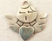 Vintage Sterling Simple Cartoonish Singing Angel Pendant or Charm