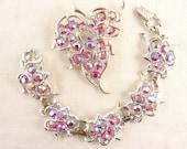 Vintage Sarah Coventry Silver Tone Pink Aurora Borealis Rhinestone Brooch and Bracelet Set