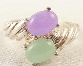 Size 10 Vintage Sterling Twin Jade and Amethyst Ring