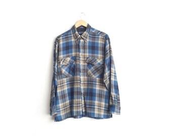 SALE // Size L/XL // PLAID Flannel // Navy Blue & Tan - Long Sleeve Button-Up Shirt - Vintage '90s.