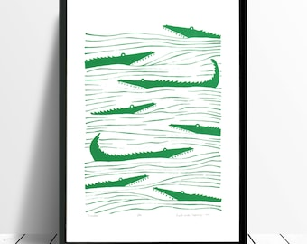 Crocodiles Limited Edition Screen Print (Green) A3 size