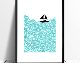 "Fine Art Print ""Bigger Boat"" (Aqua) - FREE Worldwide Shipping"