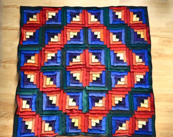 Log Cabin Sweater Quilt Rainbow Blanket Throw Recycled Eco Wool Felt OOAK Patchwork Stained Glass Ready to Ship Up Cycled