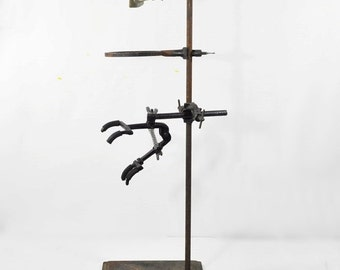 """Vintage Industrial 24"""" Cast Iron Lab Stand with Clamps and Ring"""