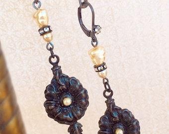 Victorian Pearl Earrings - Art Nouveau Jewelry - Black Flower Earrings - Black Earrings - DIVA Flower