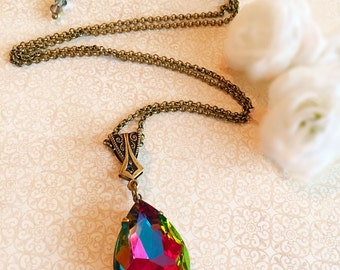 Rainbow Crystal Necklace - Crystal Pendant - Gift for Her - Large Pendant - VERSAILLES Rainbow