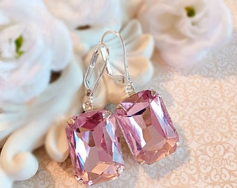Blush Pink Crystal Earrings - Rose Quartz Earrings - Bridesmaid Earrings -  Art Deco Jewelry - WINDSOR Blush