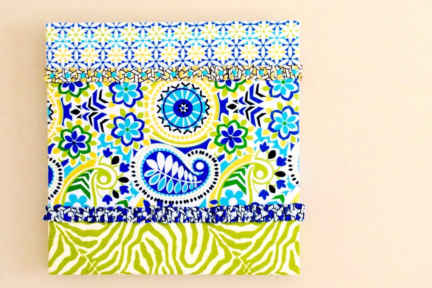 Wall Decor Hanging In Colorful Blue Aqua Yellow And Green