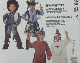 Childrens Cowboy and Native American Indian Costume Pattern Mccalls 6799 childrens Size 5,6, Uncut Pattern