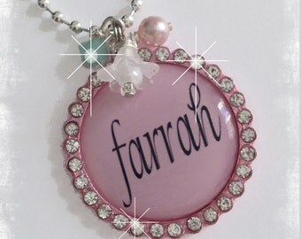 Personalized Pink Girls Necklace